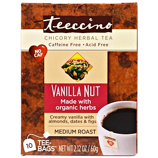 Teeccino, Chicory Herbal Tea, Medium Roast, Caffeine Free, Vanilla Nut, 10 Tee-Bags, 2.12 oz (60 g)