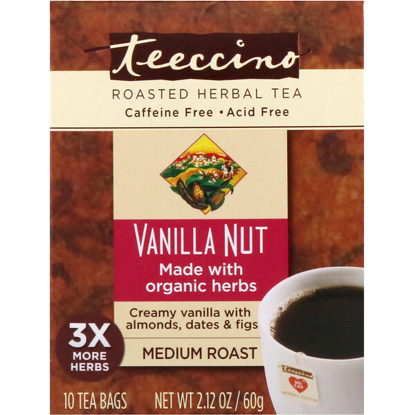 Teeccino, Roasted Herbal Tea, Vanilla Nut, Medium Roast, Caffeine Free, 10 Tea Bags, 2.12 oz (60 g) (Discontinued Item)