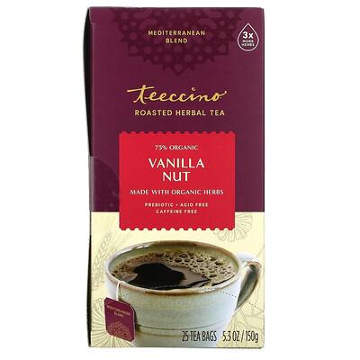 Teeccino обжаренный травяной чай, ванильно-ореховый вкус, без кофеина, 25чайных пакетиков, 150г (5,3унции)