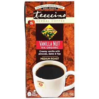 Teeccino, Herbal Coffee, Medium Roast, Vanilla Nut, No Caffeine, 25 Tee-Bags, 5.3 oz (150 g)