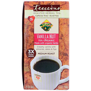 Теессино, Herbal Coffee, Medium Roast, Vanilla Nut, No Caffeine, 25 Tee-Bags, 5.3 oz (150 g) отзывы
