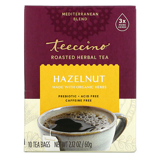 Teeccino, Roasted Herbal Tea, Hazelnut, Caffeine Free, 10 Tea Bags, 2.12 oz (60 g)