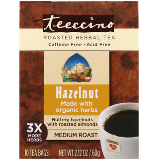 Teeccino, Roasted Herbal Tea, Medium Roast, Hazelnut, Caffeine Free, 10 Tea Bags, 2.12 oz (60 g)