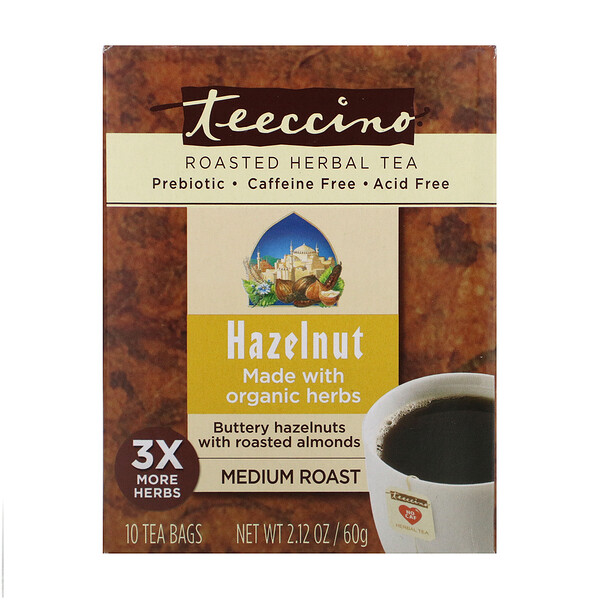 Roasted Herbal Tea, Medium Roast, Hazelnut, Caffeine Free, 10 Tea Bags, 2.12 oz (60 g)