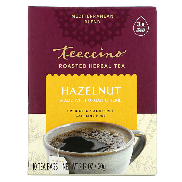 Teeccino, Roasted Herbal Tea, Hazelnut, Caffeine Free, 10 Tea Bags, 2.12 oz (60 g)