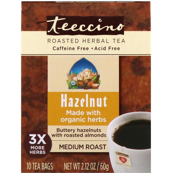 Teeccino, Roasted Herbal Tea, Medium Roast, Hazelnut, Caffeine Free, 10 Tea Bags, 2、12 oz (60 g)