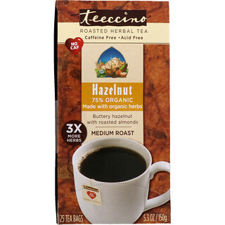 Teeccino, Roasted Herbal Tea, Medium Roast, Hazelnut, Caffeine Free, 25 Tea Bags, 5.3 oz (150 g)