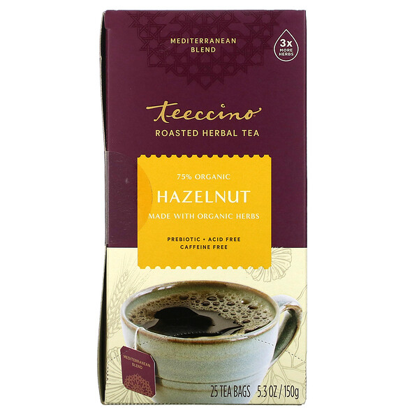Teeccino, Roasted Herbal Tea, Hazelnut, Caffeine Free, 25 Tea Bags, 5.3 oz (150 g)