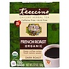 Teeccino, Organic Chicory Herbal Tea, French Dark Roast, Caffeine Free, 10 Tee Bags, 2.12 oz (60 g)