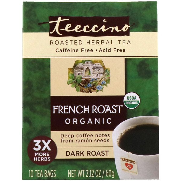 Teeccino, Organic Roasted Herbal Tea, French Roast, Dark Roast, Caffeine Free, 10 Tee Bags, 2.12 oz (60 g)