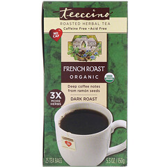 Teeccino, Organic Roasted Herbal Tea, French Roast, Dark Roast, Caffeine Free, 25 Tea Bags, 5.3 oz (150 g)