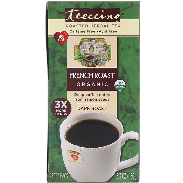 Teeccino, Organic Roasted Herbal Tea, French Roast, Dark Roast, Caffeine Free, 25 Tea Bags, 5.3 oz (150 g)