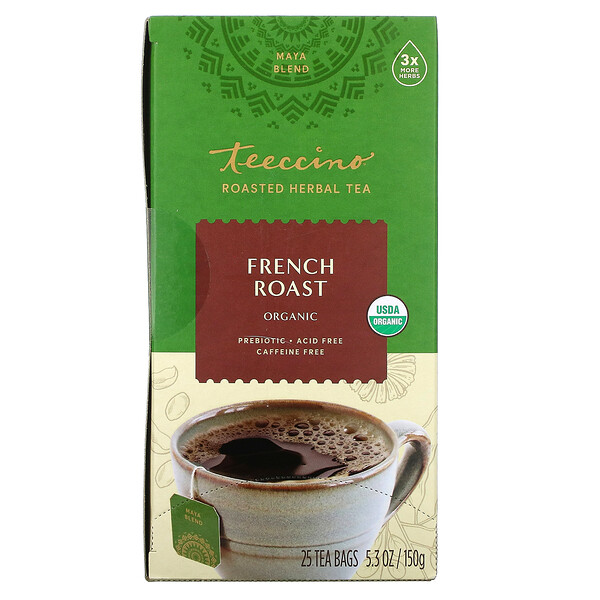 Organic Roasted Herbal Tea, French Roast, Caffeine Free, 25 Tea Bags, 5.3 oz (150 g)