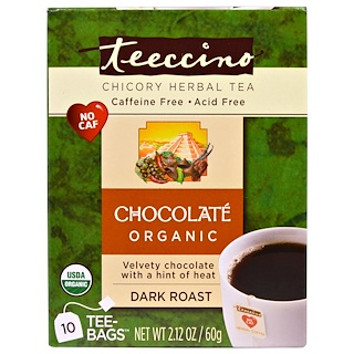 Teeccino, Chicory Herbal Tea, Dark Roast, Caffeine Free, Chocolate, 10 Tee-Bags, 2.12 oz (60 g)
