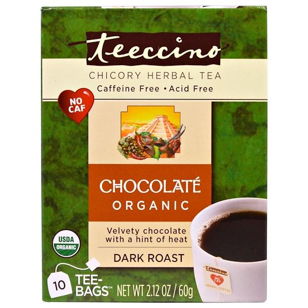 Teeccino, 치커리 허브티, 다크 로스트, 무카페인, 초콜릿, 티백 10 개, 2.12 oz (60 g)