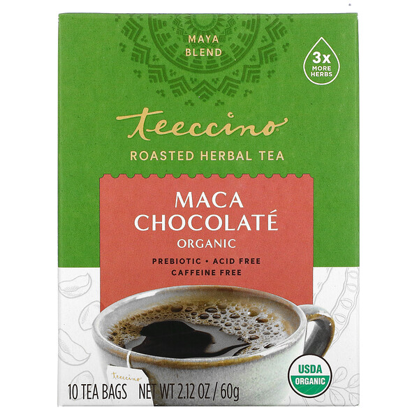 Organic Roasted Herbal Tea, Maca Chocolate, Caffeine Free, 10 Tea Bags, 2.12 oz (60 g)