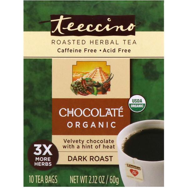Teeccino, Organic Roasted Herbal Tea, Chocolate, Dark Roast, Caffeine Free, 10 Tea Bags, 2、12 oz (60 g)