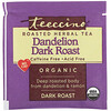 Teeccino, Café Orgánico Herbal, Tostado Oscuro con Diente de León, Libre de Cafeína, 10 Bolsas, 2.12 oz (60 g)