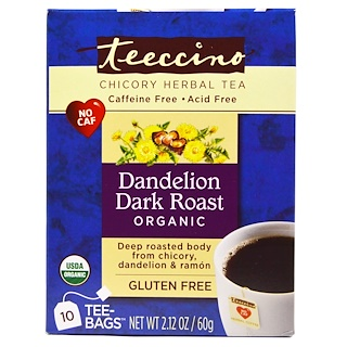 Teeccino, Chicory Herbal Tea, Dandelion Dark Roast, Organic, Caffeine Free, 10 Tee-Bags, 2.12 oz (60 g)