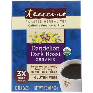 Teeccino, Chicory Herbal Tea, Dandelion Dark Roast, Organic, Caffeine Free, 10 Tea Bags, 2.12 oz (60 g)
