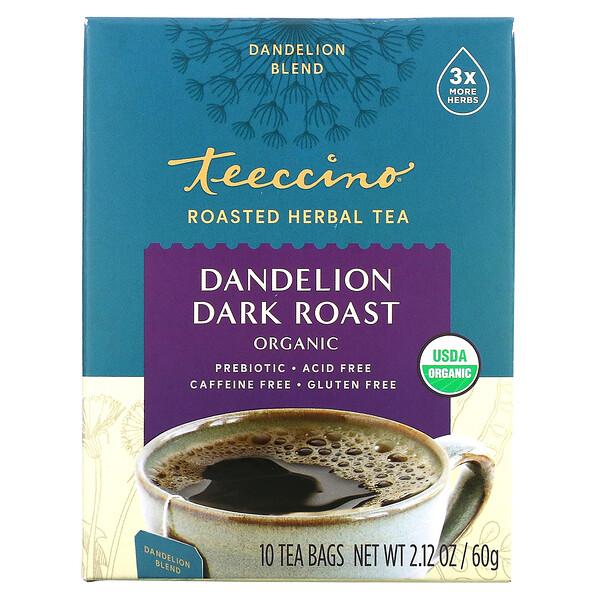 Organic Roasted Herbal Tea, Dandelion Dark Roast, Caffeine Free, 10 Tea Bags, 2.12 oz (60 g)