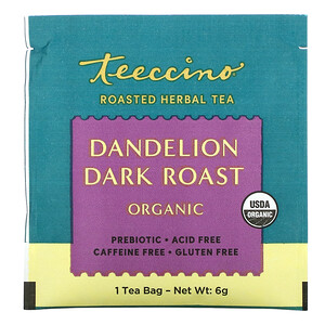 Теессино, Organic Roasted Herbal Tea, Dandelion Dark Roast, Caffeine Free, 10 Tea Bags, 2.12 oz (60 g) отзывы покупателей