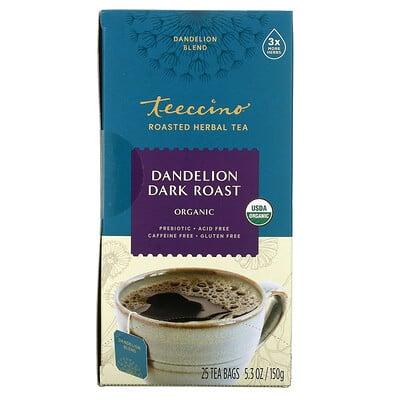 Teeccino органический обжаренный травяной чай, одуванчик темного способа обжаривания, без кофеина, 25чайных пакетиков, 150г (5,3унции)