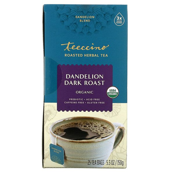 شاي الأعشاب المحمصة العضوي، الهندباء البرية المحمصة الداكنة، خالٍ من الكافيين، 25 كيس شاي، 5.3 أونصة (150 جم)