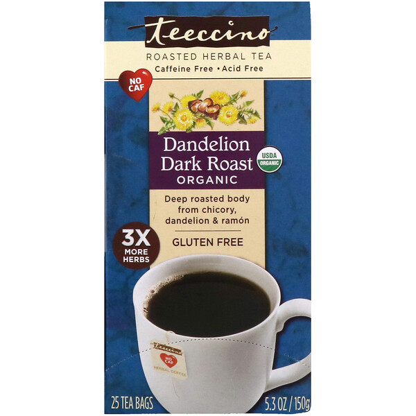 Teeccino, Organic Roasted Herbal Tea, Dandelion Dark Roast, Caffeine Free, 25 Tea Bags, 5.3 oz (150 g)