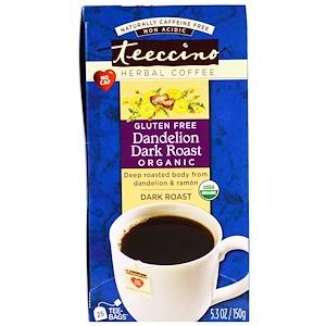 Teeccino, Травяной кофе, сильная обжарка, органический одуванчик, без кофеина, 25 пакетиков, 5,3 унции (150г)