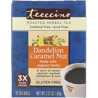 цена на Roasted Herbal Tea, Dandelion Caramel Nut, Caffeine Free, 10 Tea Bags, 2.12 oz (60 g)