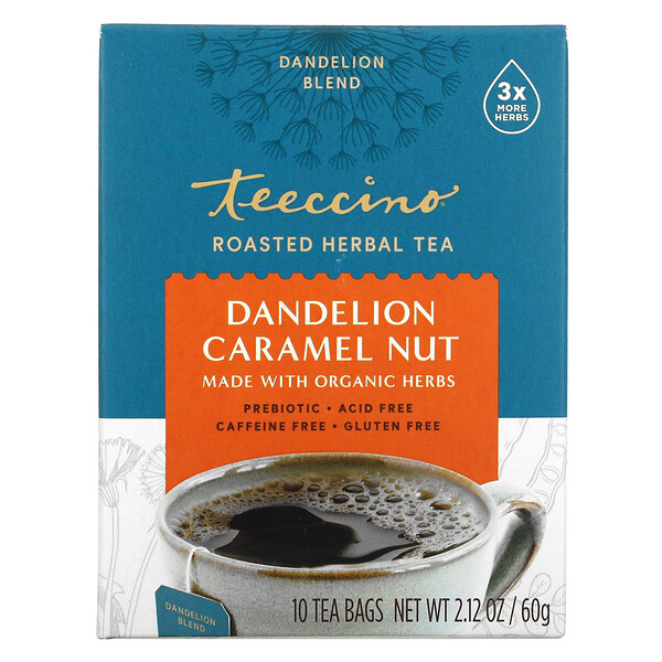Roasted Herbal Tea, Dandelion Caramel Nut, Caffeine Free, 10 Tea Bags, 2.12 oz (60 g)