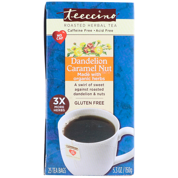 Roasted Herbal Tea, Dandelion Caramel Nut, Caffeine Free, 25 Tea Bags, 5.3 oz (150 g)
