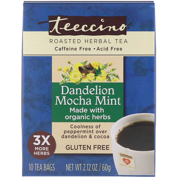 Teeccino, Roasted Herbal Tea, Dandelion Mocha Mint, Caffeine Free, 10 Tea Bags, 2.12 oz (60 g) (Discontinued Item)