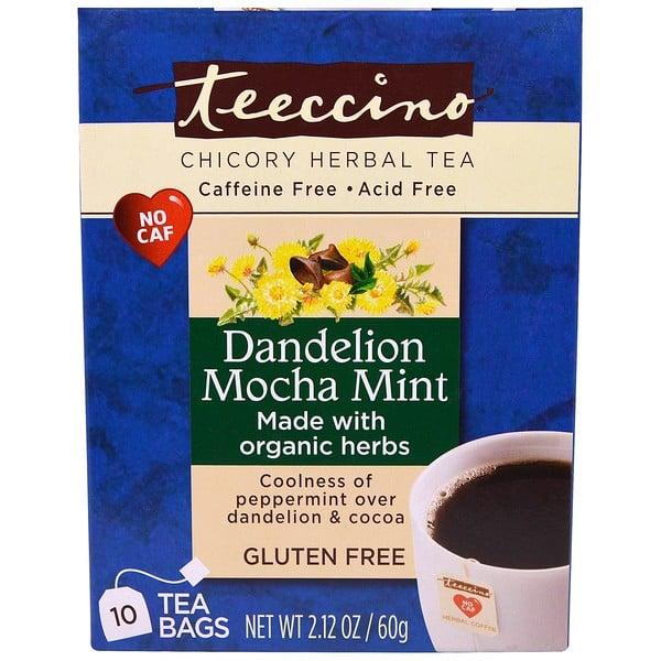 Teeccino, Chicory Herbal Tea, Dandelion Mocha Mint, Caffeine Free, 10 Tea Bags, 2.12 oz (60 g) (Discontinued Item)