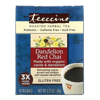 Teeccino Травяной чай с цикорием, со вкусом ройбуша масала и одуванчика, без кофеина, 10 чайных пакетиков, 2,12 унции (60 г)