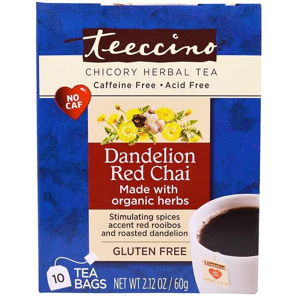Teeccino, Травяной чай с цикорием, со вкусом ройбуша масала и одуванчика, без кофеина, 10 чайных пакетиков, 2,12 унции (60 г) (Discontinued Item)