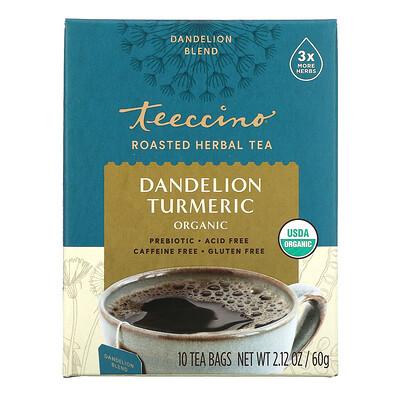 Teeccino Органический обжаренный травяной чай с корнем одуванчика и куркумой, не содержит кофеина, 10 чайных пакетиков, 60 г