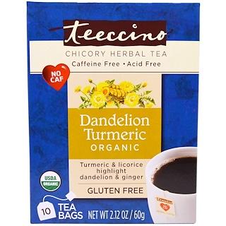 Teeccino, Chicory Herbal Tea, Organic Dandelion Turmeric, Caffeine Free, 10 Tea Bags, 2.12 oz (60 g)
