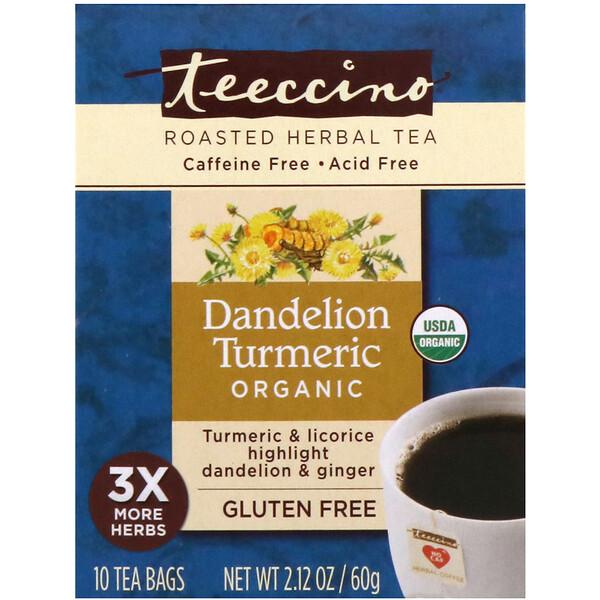 Teeccino, Органический обжаренный травяной чай с корнем одуванчика и куркумой, не содержит кофеина, 10 чайных пакетиков, 60 г (Discontinued Item)