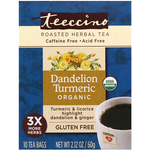 Теессино, Organic Roasted Herbal Tea, Dandelion Turmeric, Caffeine Free, 10 Tea Bags, 2.12 oz (60 g) отзывы