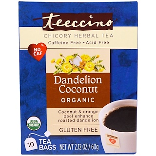 Teeccino, Chicory Herbal Tea, Organic Dandelion Coconut, Caffeine Free, 10 Tea Bags, 2.12 oz (60 g)