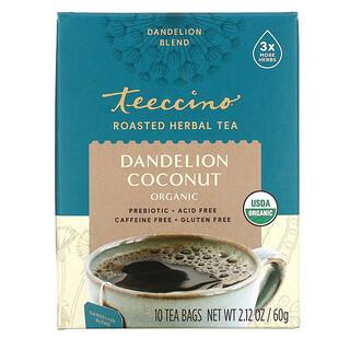 Teeccino, Organic Roasted Herbal Tea, Dandelion Coconut, Caffeine Free, 10 Tea Bags, 2.12 oz (60 g)