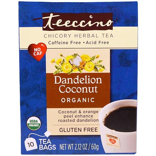 Teeccino, Chicory Herbal Tea, Organic Dandelion Coconut, Caffeine Free, 10 Tea Bags, 2.12 oz (60 g)
