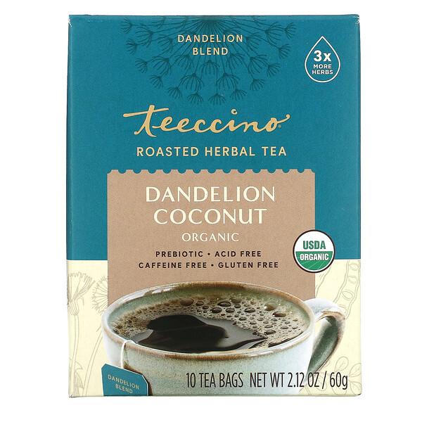Roasted Herbal Tea, Dandelion Coconut Organic, Caffeine Free, 10 Tea Bags, 2.12 oz (60 g)