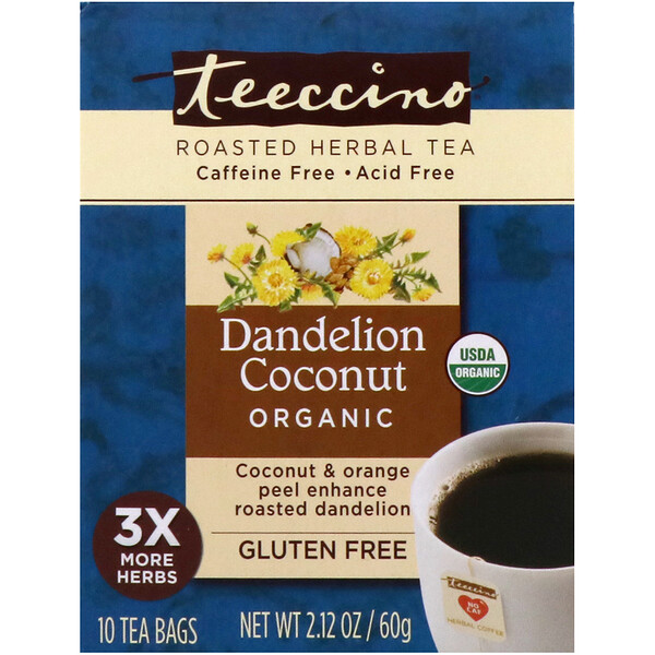 Teeccino, Roasted Herbal Tea, Dandelion Coconut Organic, Caffeine Free, 10 Tea Bags, 2.12 oz (60 g) (Discontinued Item)