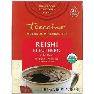 Teeccino, Mushroom Herbal Tea, Organic Reishi Eleuthero, Caffeine Free, 10 Tea Bags, 2.12 oz (60 g)
