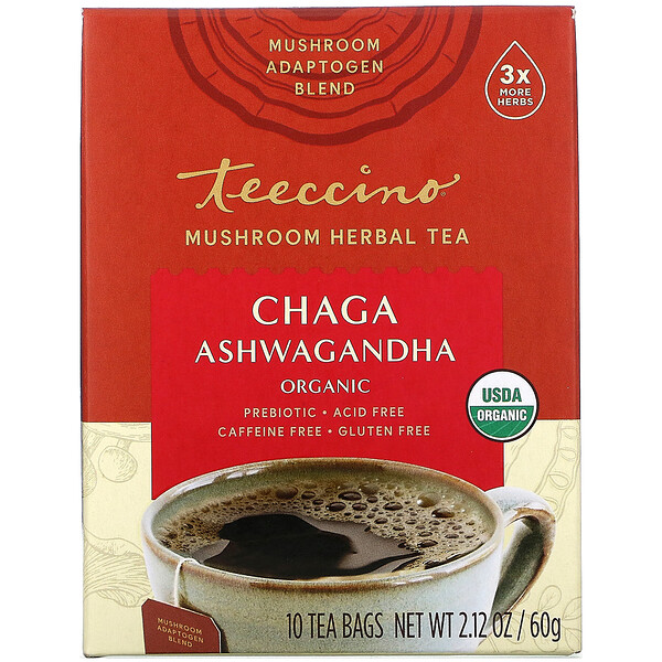 Mushroom Herbal Tea, Organic Chaga Ashwagandha, Caffeine Free , 10 Tea Bags, 2.12 oz (60 g)