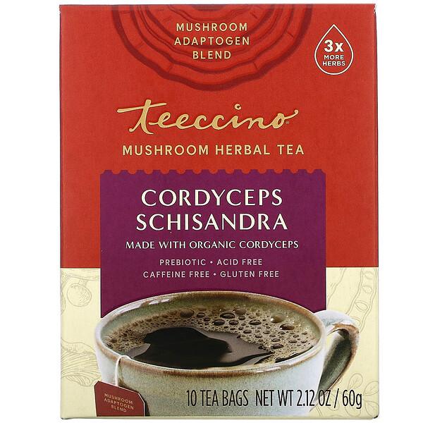 Teeccino, Mushroom Herbal Tea, Cordyceps Schisandra, Cinnamon Berry, Caffeine Free, 10 Tea Bags, 2.12 oz (60 g)