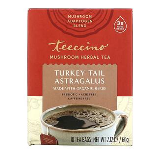 Teeccino, Mushroom Herbal Tea, Turkey Tail Astragalus, Caffeine Free, 10 Tea Bags, 2.12 oz (60 g)